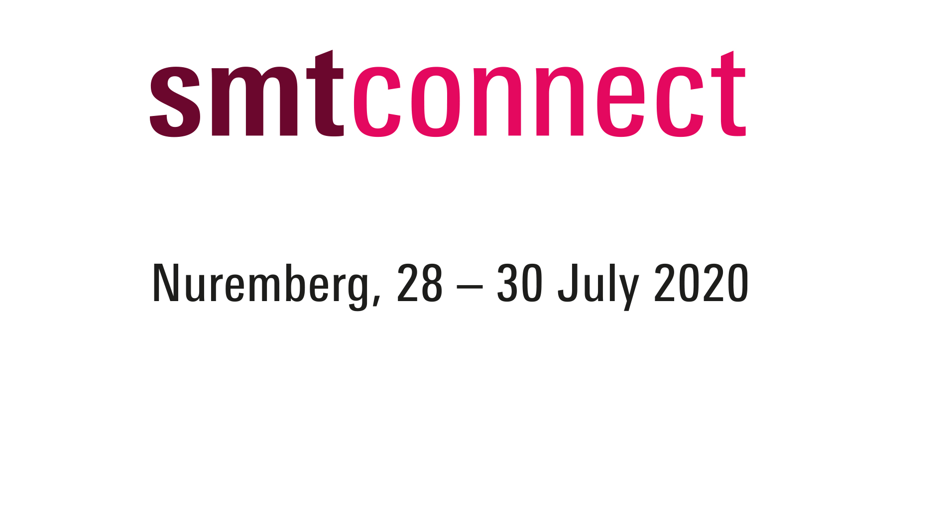 SMTconnect 2020 logo package place and date, coloured